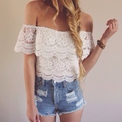 off the shoulder,lace top,white top,white lace,denim shorts,shirt,flower theme,kind of lace,arms down on the arms,top,girl,girly,off the shoulder top,crop tops,love