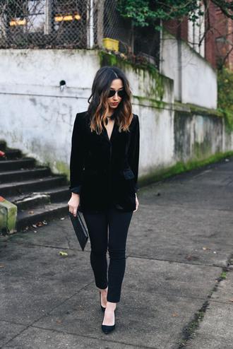 crystalin marie blogger jacket pants shoes bag jewels blazer velvet jacket clutch pumps