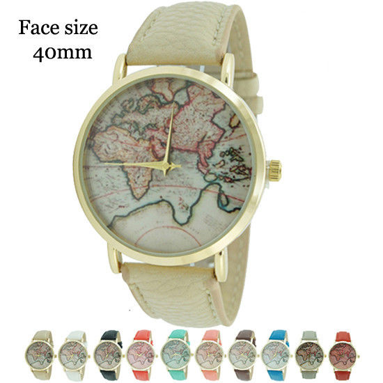 World map unisex round leather watch 40mm usa seller