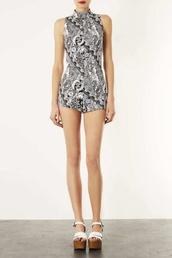 jumpsuit,black and white,romper,topshop