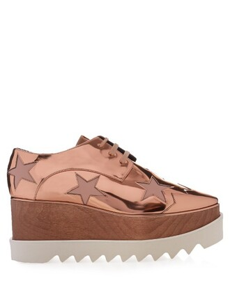 shoes platform shoes lace copper