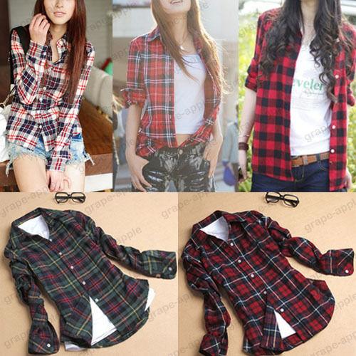 Women button down casual lapel shirt plaids checks flannel shirt top blouse 3820