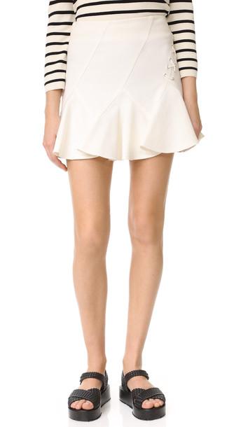 DEREK LAM 10 CROSBY miniskirt flare soft white skirt