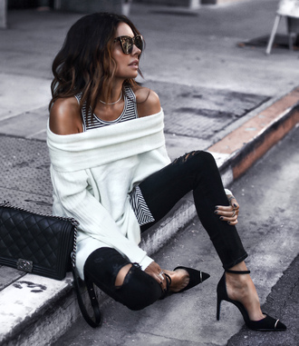 fashionedchic blogger top tank top jeans shoes pumps high heel pumps white sweater black jeans