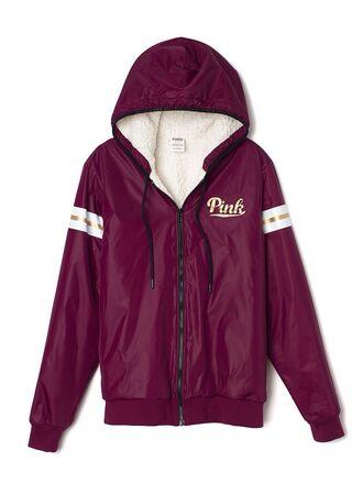 jacket pink by victorias secret marroon pink windbreaker