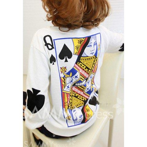 Poker pattern print fleece fleece color matching sweatshirt for women