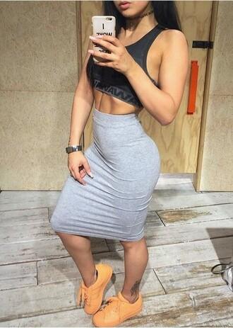 skirt pencil skirt midi skirt grey skirt high waisted skirt