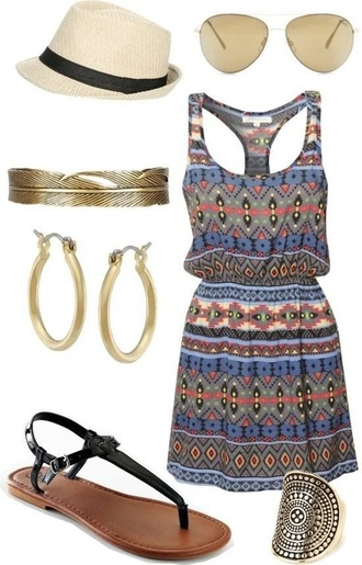 dress casual spring outfits summer outfits flat sandals flats multicolor racerback belt feathers pinterest clothes hate earrings shoes short dress print summer blue summer dress aztec tribal print dress tribal pattern cute dress cute jewels beach dress beach tribal summer hat