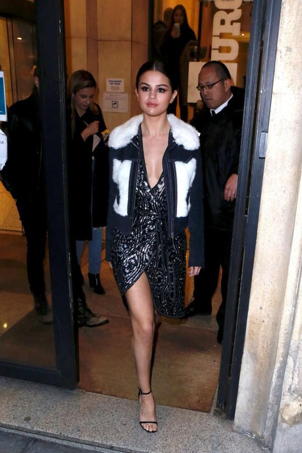 jacket dress sequins selena gomez wrap dress gown prom dress fashion week 2016 paris fashion week 2016 sandals shoes
