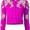 Oscar de la renta floral threadwork cardigan, women's, size: small, pink/purple, virgin wool