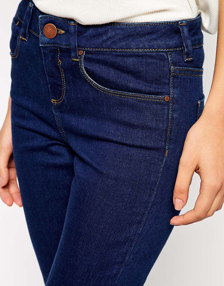 ASOS Mid Rise Skinny Ankle Grazer Jeans in Rich Blue at asos.com