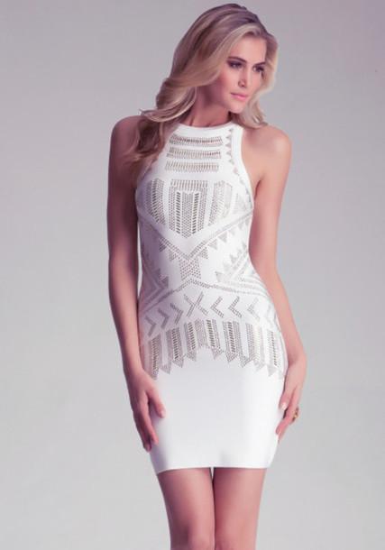 aa54cfba82 dress white dress bebe tribal pattern bedazzled open back dresses white  silver bodycon midi dress