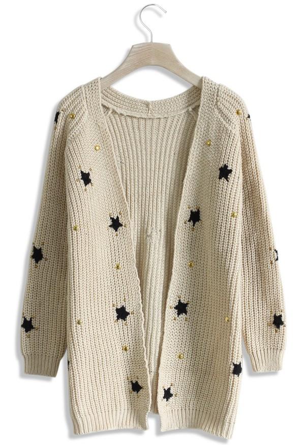 cardigan chicwish knitwear star decor beige knitted cardigan