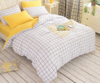 home accessory yellow grid bedding