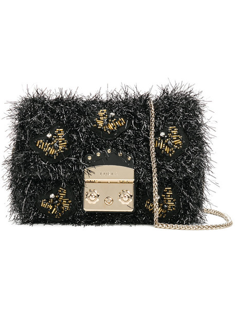 mini metal women beaded bag leather black