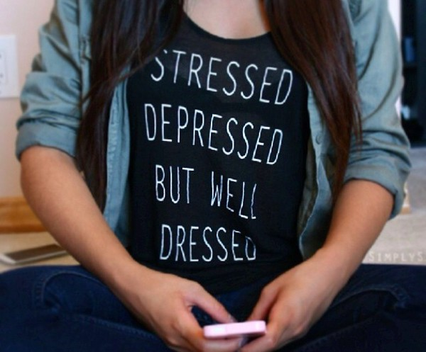 skirt stressed depressed but well dressed t-shirt stressed black