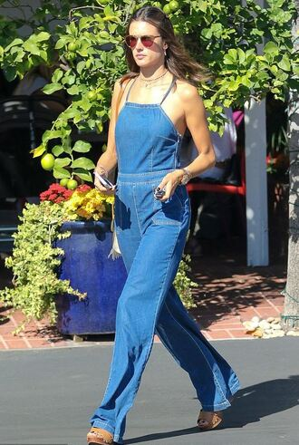 jeans overalls jumpsuit sandals alessandra ambrosio model off-duty denim