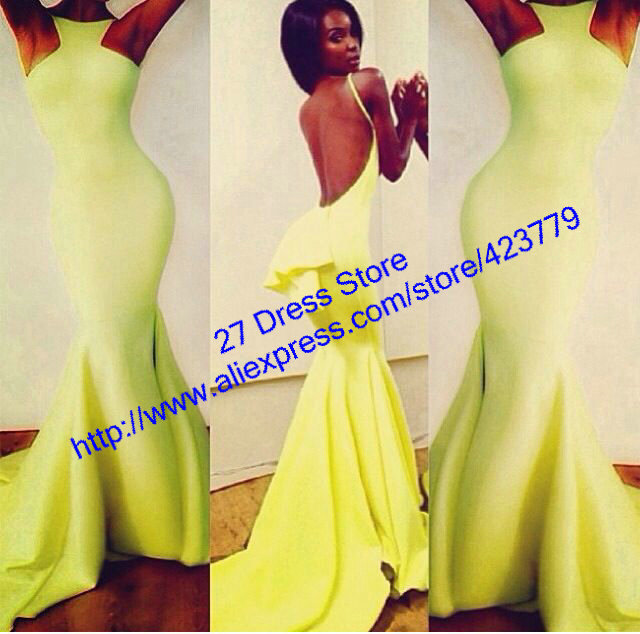 Aliexpress.com : Buy Sexy Open Back Mermaid Prom Dresses High Neck Yellow Satin Backless Evening Dress Vestidos de gala 2014 from Reliable dress code suppliers on 27 Dress