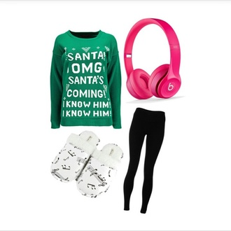 sweater headphones leggings slippers shoes santa claus ugly christmas sweater christmas holiday season