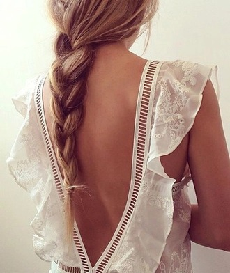 blouse white lace cutout top backless top