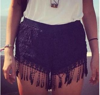 shorts black shorts fringe fringe shorts black lace black lace crochet crochet shorts lace shorts fringe lace crochet shorts