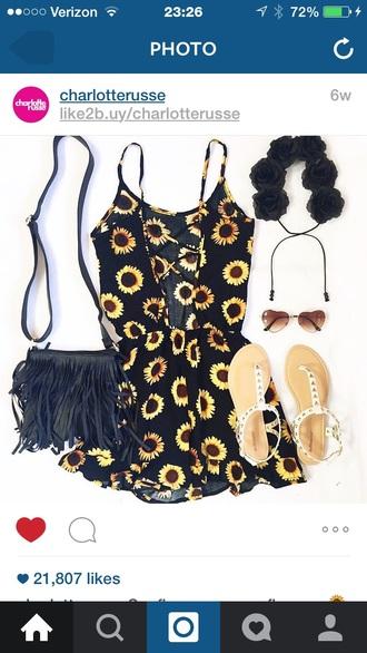 romper black sunflower cute romper/dress teall sunglasses bags and purses