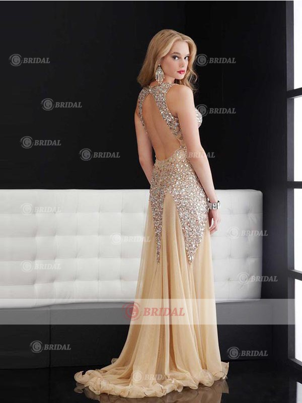 Sheath/Column V-Neck Backless Floor-Length Tulle Sleeveless Prom Dresses