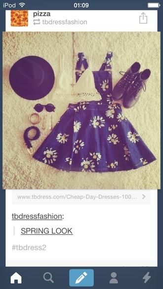 dress blue pattern pinafore floral flowers bag hat shoes sunglasses t-shirt jewels