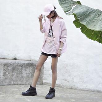 hat pink cap pink bomber jacket adidas shirt nlack shorts black sneakers blogger