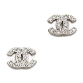 Vintage Chanel Tiny CC Crystal Earrings on Wanelo