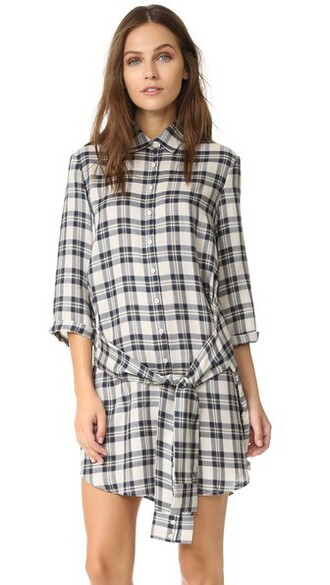 dress shirt dress plaid tie front
