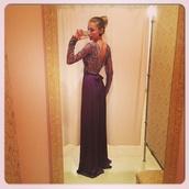 dress,maxi dress,purple,lilac,prom dress,mesh,deep v back,girly,purple dress,glamour,long gown,silver,blonde hair,pretty