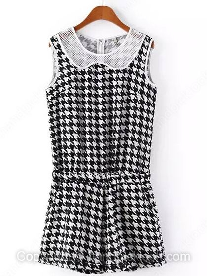 Black and White Round Neck Sleeveless Houndstooth Jumpsuit - HandpickLook.com