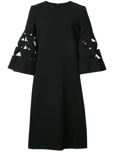 oscar de la renta dress flare women spandex black wool