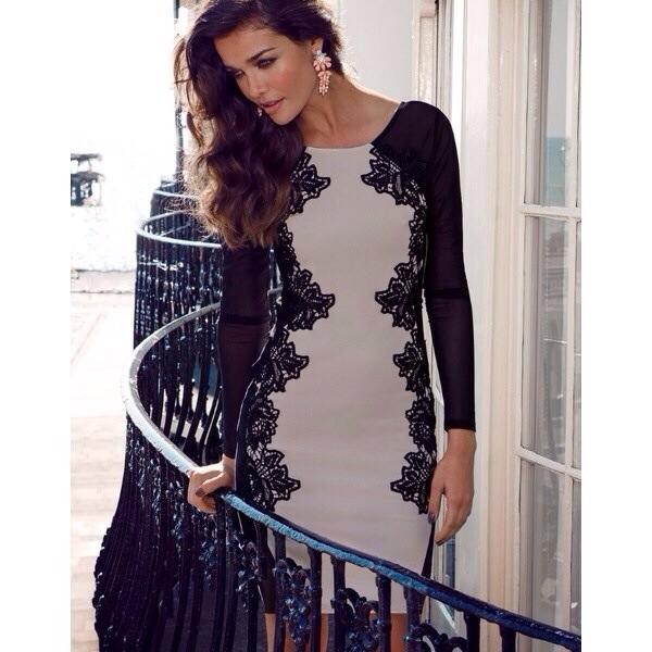 dress black and begie dress black and white elegant