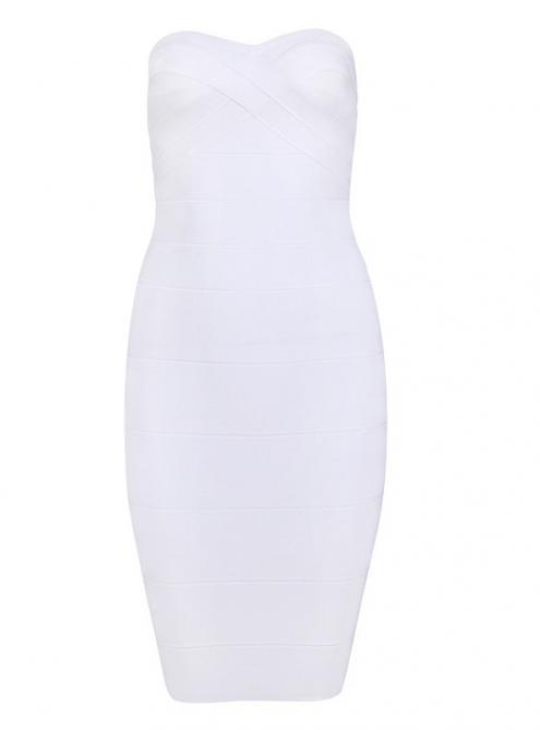 White Strapless Bandage Dress H011B$99