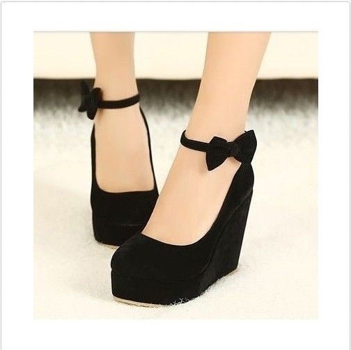 Gift round toe bow wedges high heel platform flat oxford casual creeper shoes