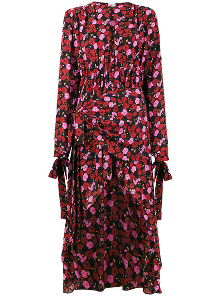 dress women floral print silk purple pink