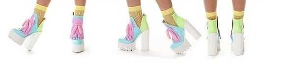 pastel pink light blue white pale pink shoes cleated tassle pastel color ankle boots funky miley cyrus cut out boots