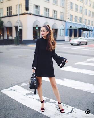 dress tumblr mini dress black mini dress black dress sandals sandal heels high heel sandals velvet velvet sandals bag bell sleeves bell sleeve dress shoes