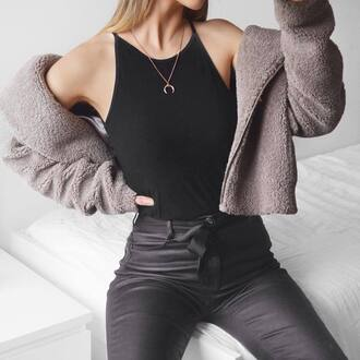 jewels tumblr gold jewelry jewelry gold necklace necklace top black top jacket grey jacket fuzzy jacket pants black pants black leather pants leather pants