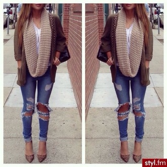 cardigan jeans scarf