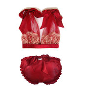 Red silk pantines, belle rouge red silk scrunchie bow knicker