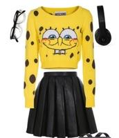 spongebob,yellow,jumper,style,skirt