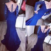 dress,long sleeve lace dress,prom dress,long prom dress,mermaid prom dress,lace dress,royal blue,royal blue dress