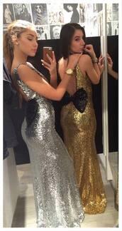 sequins,gold sequins,sequin dress,glitter,maxi,prom dress,prom,prom gown,gown,gold,silver dress,bow,party,evening dress,girl
