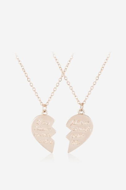 Topshop friendship necklace rose gold rose necklace gold jewels