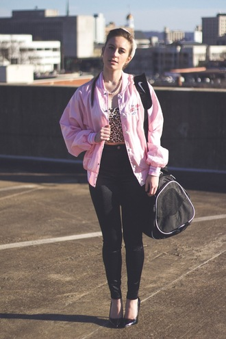 tennessee rose blogger top pink jacket leopard print baseball jacket skinny pants