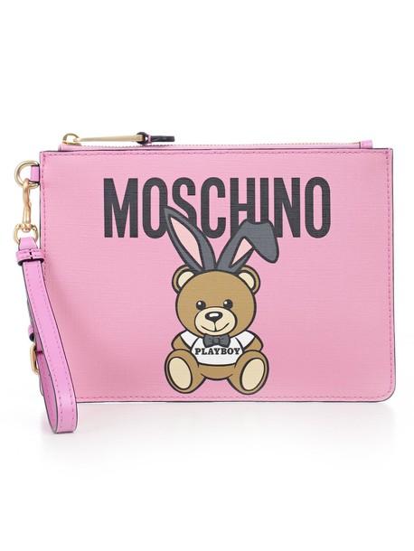 Moschino clutch pink bag
