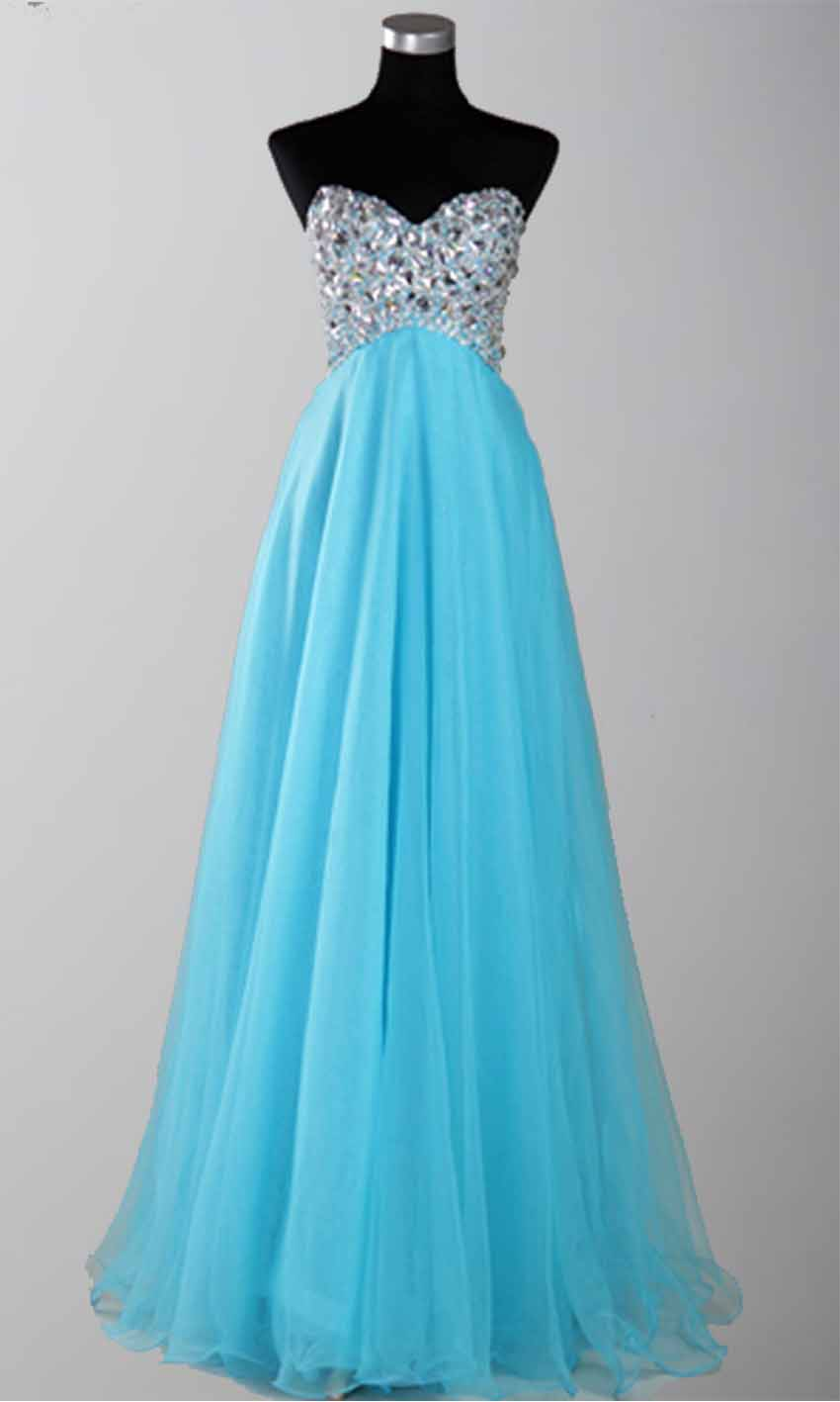 Luxury Sweetheart Strapless Long Organza Prom Dresses KSP162 ...